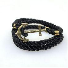 Estilo del verano bronce Anchor amistad pulseras del encanto moda Vintage pulseras y brazaletes de cuero para hombres mujeres joyería fina(China (Mainland))