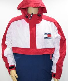 Vintage 90's Tommy Hilfiger Red White Blue Sailing Anorak 1/2 Zip Jacket Men's L #TommyHilfiger #BasicJacket