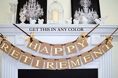Happy Retirement Banner/Retirement Garland/Retirement Sign/Retirement Decorations - You pick the Colors >>> For more information, visit image link. (Amazon affiliate link)