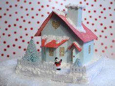 Vintage Style Valentine Glitter House Putz Decoration Tiffany Blue Bay Window