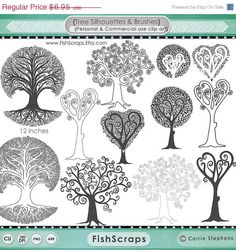 SALE - 40% Tree Silhouette - Tree Clip Art - Photoshop Brushes, Digital Stamps -  DIY Wedding Guestbook, Family Tree, Geneology, Commercial