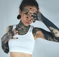 Modell: Monami Frost- Sleeve tattoos - he Hot Tattoo Girls, Tattoed Girls, Inked Girls, Hot Tattoos, Girl Tattoos, Tattoos For Women, Tatoos, Bodysuit Tattoos, Tattooed Women