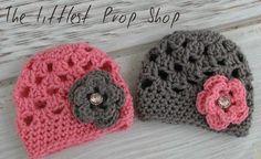 Crochet baby hat-photo prop-girls flower beanie-flower hat-knit flower hat-rhinestone flower hat