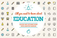 Awesome Education Icons and Logo Set by Ckybe's Corner on Creative Market