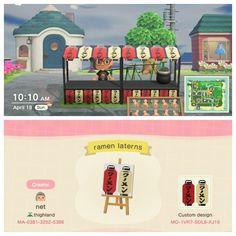 Made a ramen stand stall design! Animal Crossing Guide, Animal Crossing Qr Codes Clothes, Japon Tokyo, Motif Acnl, Ac New Leaf, Ghibli, Motifs Animal, Las Vegas Hotels, Animal Games