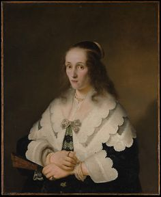 """""""Portrait of a Woman"""" by Ferdinand Bol (1642) at the Metropolitan Museum of Art, New York - From the curators' comments: """"This is one of three portraits of women by Bol inscribed 1642, the earliest known date on paintings by him. The Dordrecht artist studied with Rembrandt about 1636–41, and then became one of Amsterdam's most successful portraitists. Despite the rich display of lace and jewelry in this picture its most appealing aspect is the sitter's sense of character..."""""""
