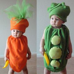 Coordinated Halloween Costumes For Twins, Triplets, and Siblings Peas and Carrots Do your kids go together like peas and carrots? If so, why not dress them up in a couple of veggies costumes ($82)?