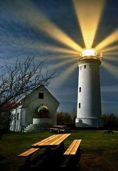 lighthouse © keller- Beautiful beacon in the night. Beautiful World, Beautiful Places, Lighthouse Pictures, Beacon Of Light, Photos Voyages, Light Of The World, Water Tower, Belle Photo, The Good Place
