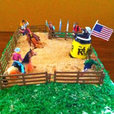 My husband made this Rodeo Cake for our sons 6th birthday. Nilla wafers for the sand, coconut for the grass. It was a hit!