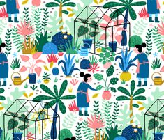 Greenhouse colorful garden fabric by heleen_vd_thillart on Spoonflower - custom fabric Garden Illustration, Pattern Illustration, Valentines Illustration, Children Style, Conversational Prints, Colorful Garden, Surface Pattern, Custom Fabric, Spoonflower