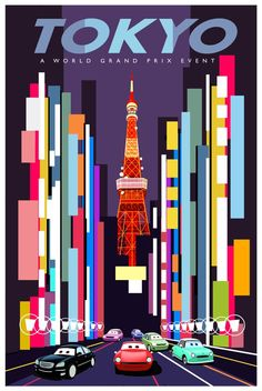 Love this cars 2 vintage style Tokyo poster great use of colour and shapes to give the illusion of perspective.