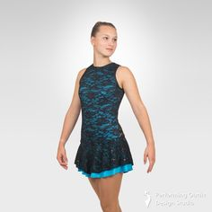 Stunning figure skating tank dress - Performing Outfit Design Studio Store Gymnastics Outfits, Gymnastics Leotards, Latin Ballroom Dresses, Ice Skating Dresses, Black Sequins, Lace Overlay, Figure Skating, Dance Costumes, Tank Dress