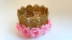 Gold Lace Crown, Floral Crown, Birthday Crown, Kids Costume, Fall Harvest Crown, Cake Topper, Princess Party, Photo prop, Floral Crown