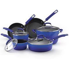 Rachael Ray Hard Enamel Nonstick 10-piece Blue Gradient Cookware Set