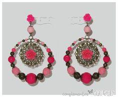 Pendientes de flamenca | Complementos del SurComplementos del Sur Earring Cards, Crochet Earrings, Drop Earrings, Flowers, Jewelry, Gold Bathroom, Green Earrings, Bata De Cola, Flamenco Dresses