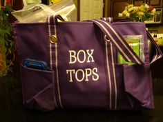 """When I walk around school collecting box tops, talking to students and spreadng the box tops """"Cheer"""" I usually have my hands full, camera, water, phone, collection envelopes... One AMAZING St. Charles Mom had this super cute bag made just for me.  The picture does not do the true color justice... it's a beautiful purple color! Now I have a place for everything.  I'm stylish and organized!  Thank you @Kelley Oberg Smith Oberg Smith Oberg Smith Werkowitch!  You are so sweet!  I <3 it!"""