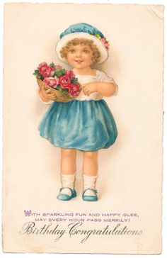 Euro Ellen Clapsaddle - Pretty Girl with Basket of Red Roses