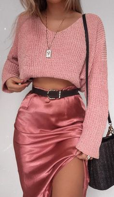 No such thing as too much pink 💖💘💕 in our 'Be Warm Velvet Knit Sweater In Blush' + 'Creating Art Skirt In Dusty Rose Satin'… Mode Outfits, Girly Outfits, Cute Casual Outfits, Stylish Outfits, Fashion Outfits, Womens Fashion, Classy Outfits For Going Out, Hijab Fashion, School Outfits