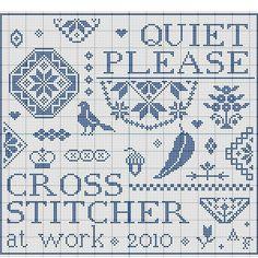 Quiet please Cross Stitcher at Work - Free pattern