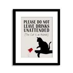 Cat is an ASSHOLE Cat Sign Funny Cat Wall Art Cat by ClassicJanes