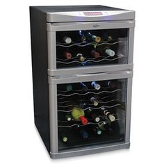 24 Bottle Dual-Zone Wine Cellar, Compact Counter Red, White Refrigerator Chiller Keep your wine chilled to perfection with the Koolatron 24 Bottle Dual-Zone Thermoelectric Wine Cooler, Thermoelectric Cooling, Best Wine Coolers, White Refrigerator, Wine Chiller, Wine Cellars, C 18, Wine Deals, Cheap Wine
