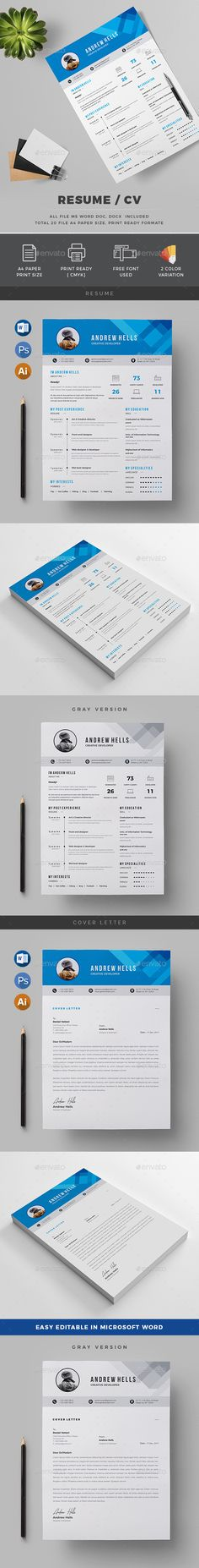 #Resume - Resumes #Stationery Download here: https://graphicriver.net/item/resume/19750247?ref=alena994