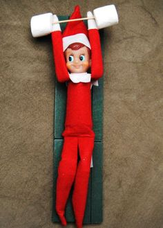 Elf on the Shelf - Lifting weights