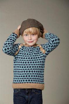 Børnesweater med Raglanærmer og Skrå Knaplulning