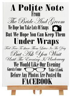 Polite Notice Sign Wedding Photos Sign Wedding by PerfectParcels1