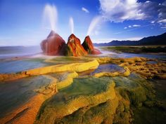 Black Rock Desert, Nevada Photograph by Jack Dykinga/Getty Images Minerals, algae, and cyanobacteria give this geyser in Nevada's Black Rock Desert its brilliant colors. National Geographic Fotos, National Geographic Photography, Black Rock Desert Nevada, Nevada Desert, Places Around The World, Around The Worlds, Beautiful World, Beautiful Places, Amazing Places