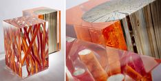 #Glass enclosed #wood and brightly colored pieces comfort a room warmly