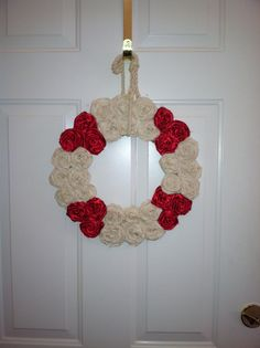 Nautical themed custom rolled rose wreath. Can totally see a beautiful image of Our Lady and her mother in the center!