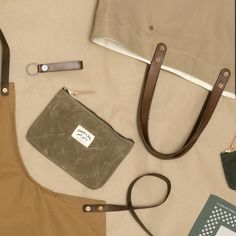 Stanley & Sons Apron, Waxed Zip pouch, Key Fob, Bandana, Tote