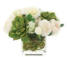 Natural Decorations, Inc. - Rose Peony Echeveria Green White, Glass Cube