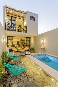 Dream house April 16 2020 at Small Pool Design, Small House Design, Modern House Design, Style At Home, Kleiner Pool Design, Small Backyard Pools, Backyard Patio, Home Room Design, Kitchen Design