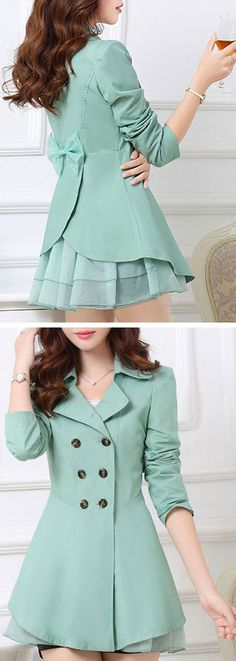 Mint bow back trench coat