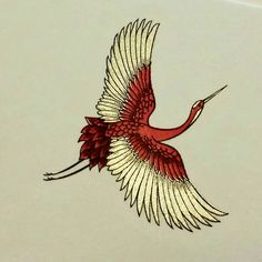 Magnificent engraved design of a Japanese Crane in flight from the grosvenorstationerycompany.com