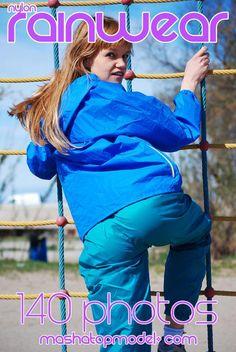 Blue and green nylon rainwear suit