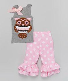 Pink Owl Ruffle Tank & Pants - Infant, Toddler & Girls by Beary Basics #zulily #zulilyfinds