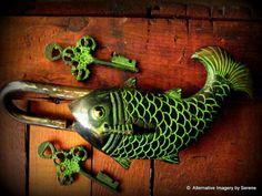 Vintage Solid Brass Fish Door Lock from by TemplesTreasureTrove, $164.95