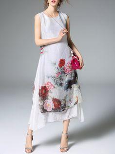 #AdoreWe #StyleWe Dresses - ELENYUN White Vintage Floral-print Crew Neck A-line Midi Dress - AdoreWe.net