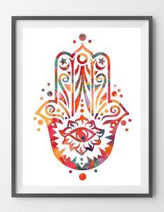 Indian hamsa hand watercolor print hamsa hand poster protective hand illustration hamsa hand with eye wall decor Boho Art [N328_2]