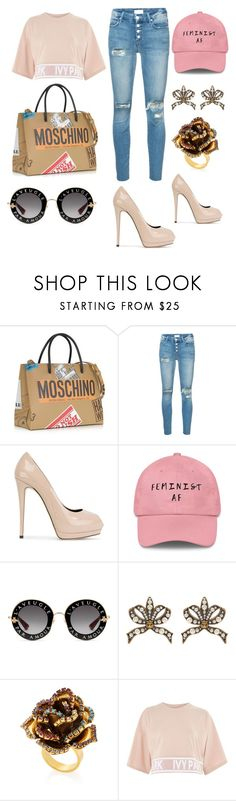 """""""Dinner with Friends"""" by aarongarciapereda ❤ liked on Polyvore featuring Moschino, Mother, Giuseppe Zanotti, Gucci, Erickson Beamon and Topshop"""