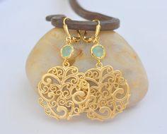 Aqua and Gold Circle Unique Jewel Dangle Earrings  by RusticGem, $28.00