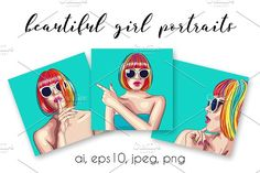 Beautiful girl portraits #1 Graphics **Three vector portraits of a beautiful girl wearing colorful wig and sunglasses****Total files yo by Merydolla Studio
