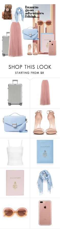 """go on ADVENTURES"" by moody-board ❤ liked on Polyvore featuring Ricardo, Rimowa, Little Mistress, Cynthia Rowley, Stuart Weitzman, Mark Cross, Nordstrom, Max&Co. and Belkin"