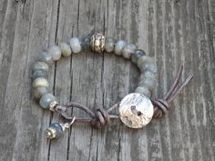 ON SALE Boho Chic Labradorite Gemstone Bead Hand Knotted Leather Bracelet