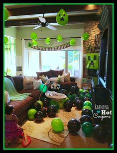 Creeper Balloons with marble for weight by Minecraft Party Ideas - Raining Hot Coupons