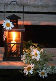 """""""day is done.....gone the sun"""".....but the daisies are still awake and looking pretty in the light of a lantern.:"""