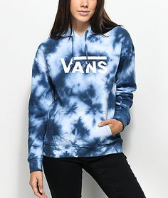 418a6b82fe43c6 Vans Drop V Blue Tie Dye Hoodie